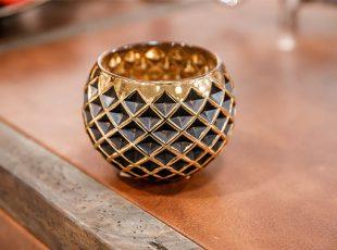 Ваза круглая Terrain Gold с ромбами